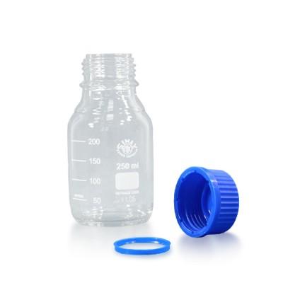 250ml Laborflasche Glas + blauem Verschluss