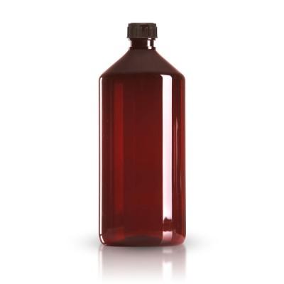PET Medizinflasche 1000ml + braunem Schraubverschluss