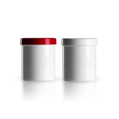 Salbenkruke mit rotem/weißem Deckel 100g