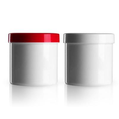 Salbenkruke mit rotem/weißem Deckel 250g