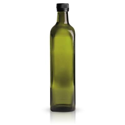 Eckige Glasflasche mit schw. Verschluss 750 ml