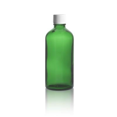 Grünes 100ml Tropferfläschchen + Schraubverschluss weiß m. Globuligießring
