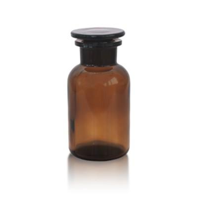 Apothekerflasche 250 ml Weithals braun + Glasstopfen