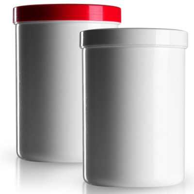 Salbenkruke mit rotem/weißem Deckel 1000g