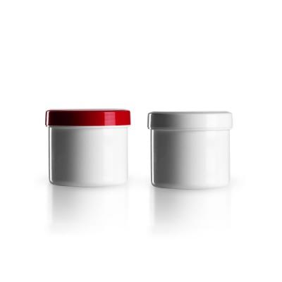 Salbenkruke mit rotem/weißem Deckel 75g