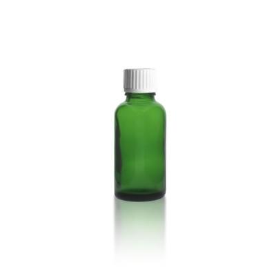 Grüne 30ml Apothekerflasche + Schraubverschluss weiß m. Globuligießring