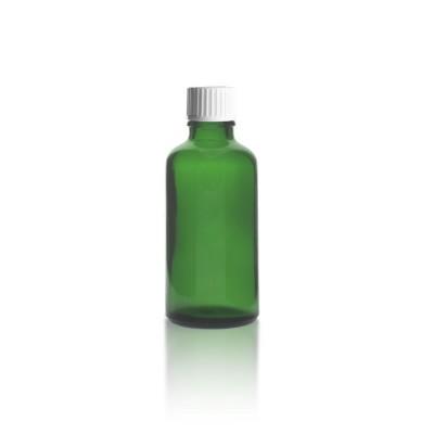 50ml Grünglas Tropfflasche + Schraubverschluss weiß m. Globuligießring