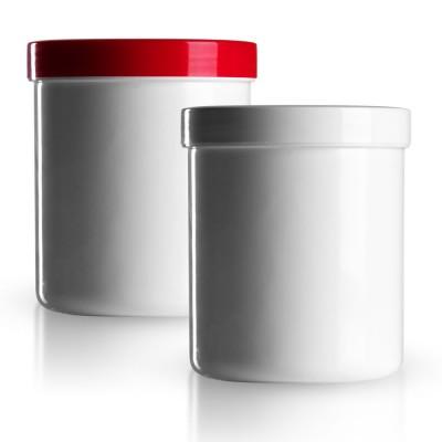Salbenkruke mit rotem/weißem Deckel 500g