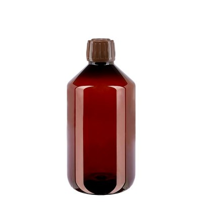 PET Medizinflasche 500ml + Schraubverschluss braun OV