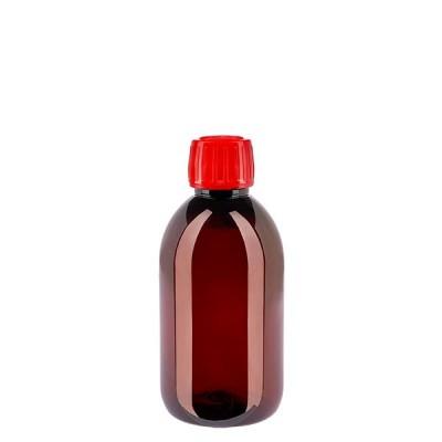 PET Medizinflasche 250ml + Schraubverschluss rot OV
