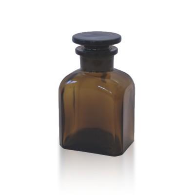 Vierkantflasche 150 ml Braunglas + Glasstopfen