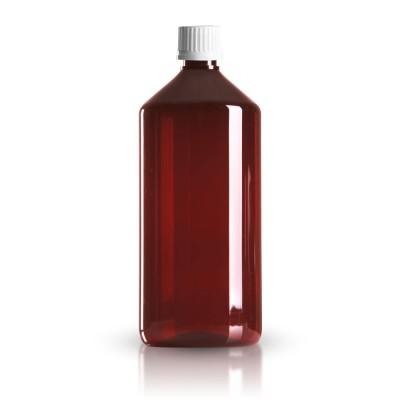 PET Medizinflasche 1000ml + Schraubverschluss weiß