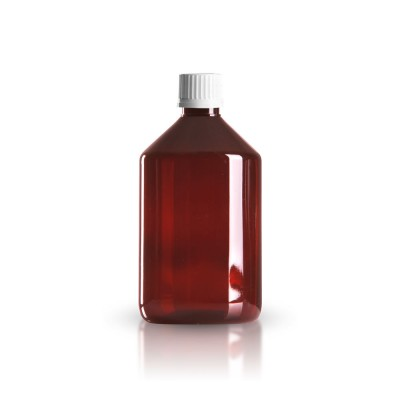 PET Medizinflasche 500ml + Schraubverschluss weiß