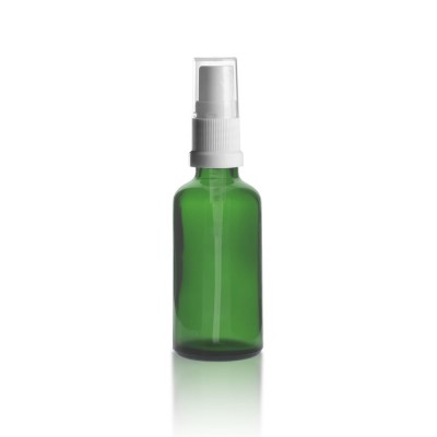 Grüne 50ml Glasflaschen mit weißem Pumpzerstäuber